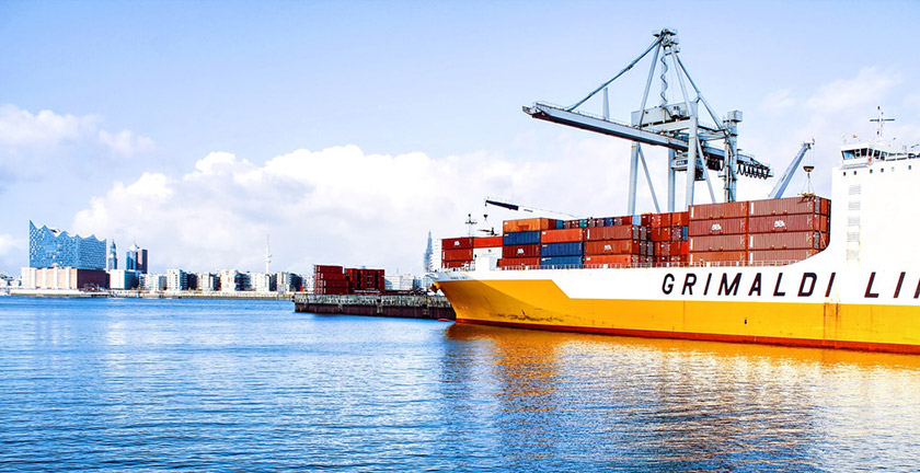 Where is container transport heading? - Ship in harbor - Goodloading
